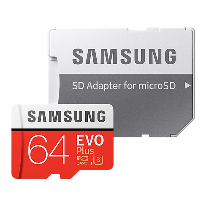 Флеш-карта microSDXC 64Гб Samsung Evo Plus , Class 10 UHS-I U3 ( MB-MC64GARU ) адаптер SD