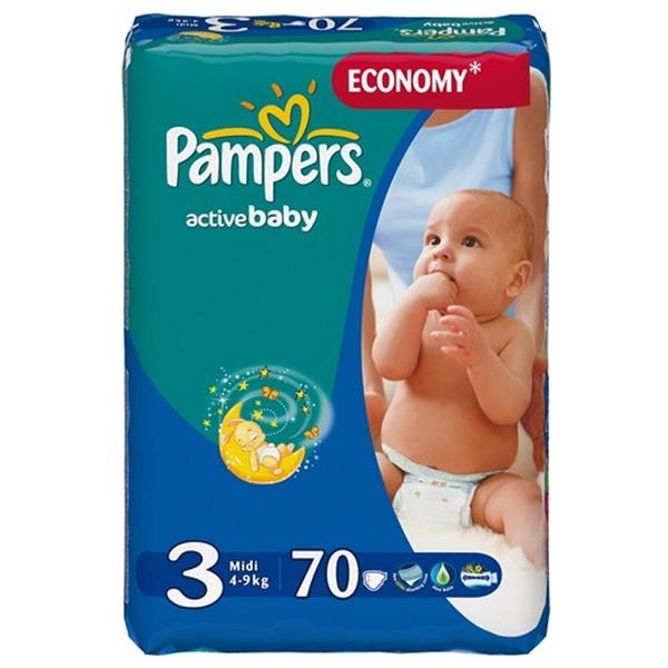 Подгузники Pampers Active Baby  (4-9кг)  70шт