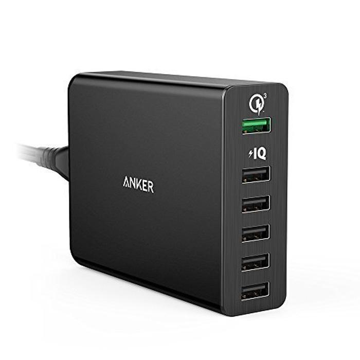 Стационарное зарядное устройство Anker PowerPort+ QC 3.0 60W A2063L11, 6 USB, 12A, черное