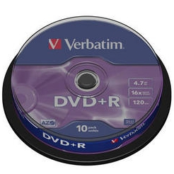 Оптический диск DVD+R диск Verbatim 4,7Gb 16x CakeBox (43498) 10шт