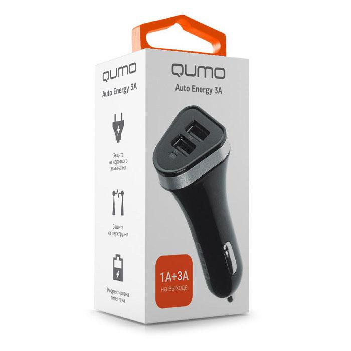 Зарядное устройство автомобильное Qumo 4A (3A+1A) USB черное 20732