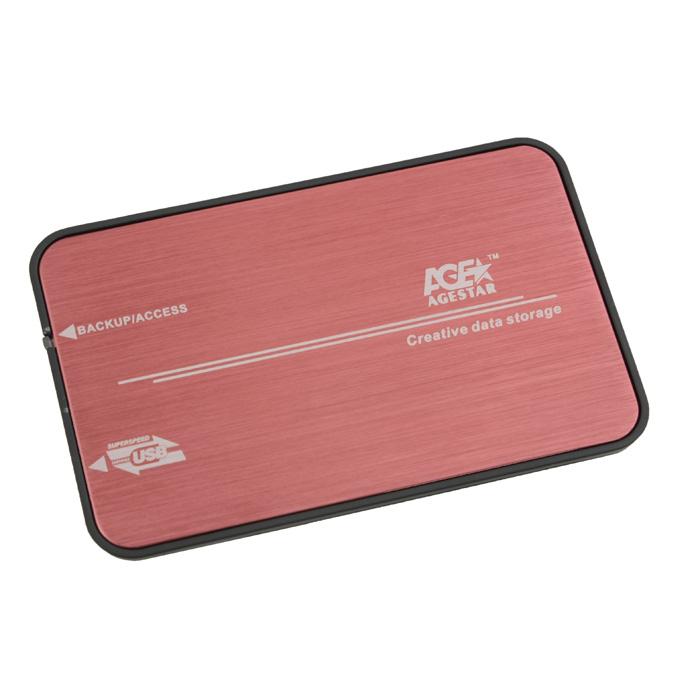 Корпус для HDD 2.5″ SATA-USB3.0 AgeStar 3UB2A8 Red, Alum