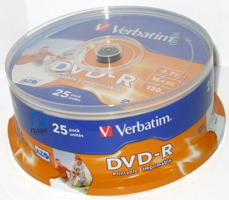 Оптический диск DVD-R Verbatim 4,7Gb 16x Printable CakeBox (43538) 25шт