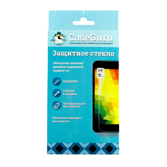 Защитное стекло CaseGuru для iPhone 6 Plus 3D, изогнутое по форме дисплея, черная рамка