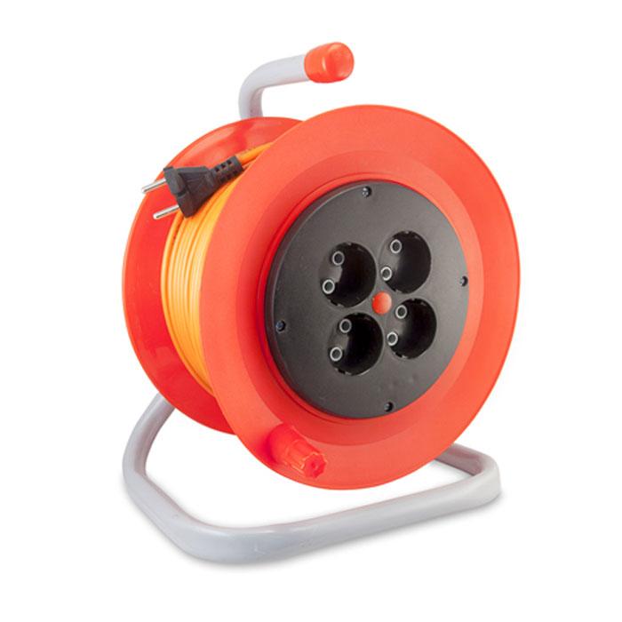 Силовой удлинитель на катушке LUX ПВС 2*0.75мм2 10А 4 розетки 50м