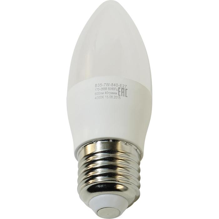 Светодиодная лампа ЭРА B35 E27 7W 220V белый свет