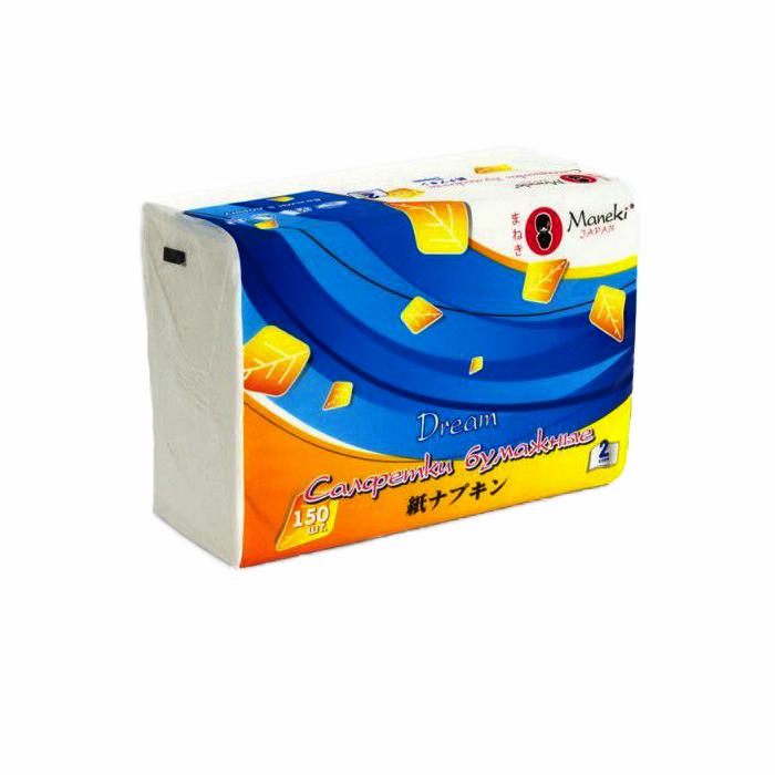 Бумажные салфетки Maneki Dream белые 2 слоя 150шт