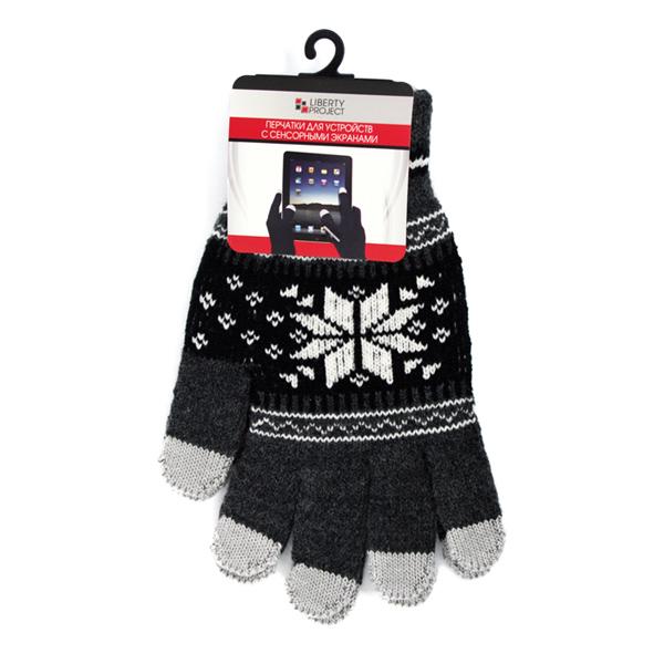 Перчатки для мобильных устройств Liberty Снежинки, цвет серый, размер S