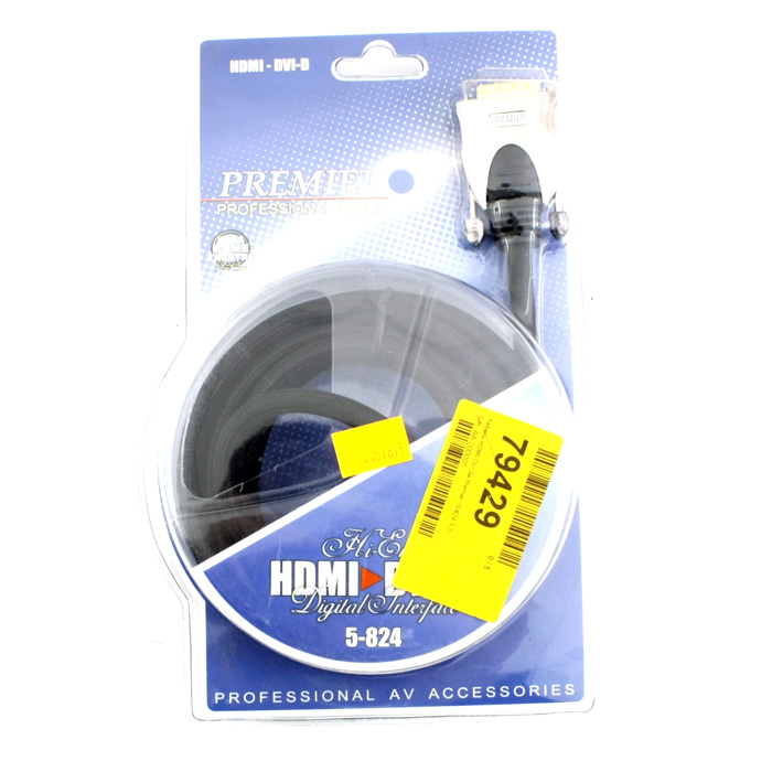 Кабель HDMI-DVI 3.0м Premier ( 5-824 3.0 ) Gold Metall