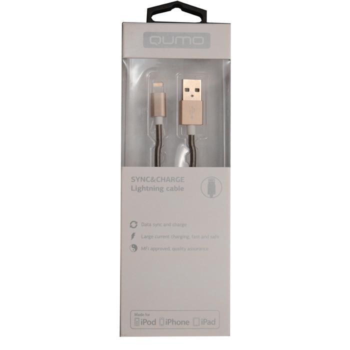 Кабель для iPhone 5 / iPhone 6 /iPad Lightning MFI Qumo 1м, стальная пружинка у коннектора, золотистый