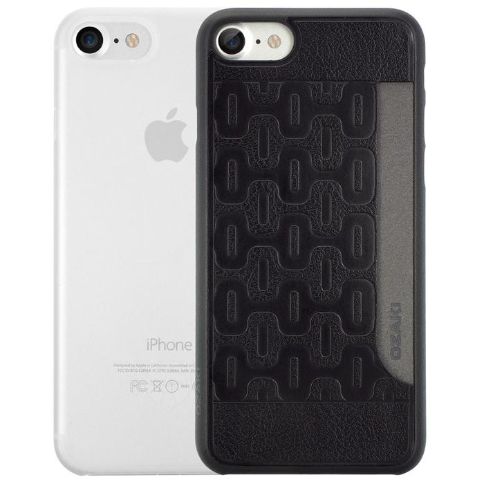 Чехол Ozaki O!coat 0.3 Jelly и O!coat 0.3 Pocket для iPhone 7, два чехла в наборе, прозрачный и черный