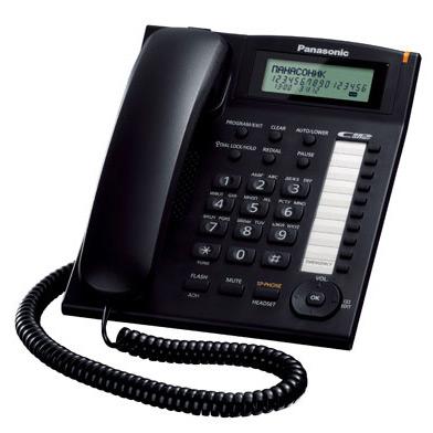 Телефон PANASONIC KX-TS2388RUB с АОН, черный