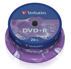 Оптический диск DVD+R Verbatim 4.7ГБ 16x cake box ( 43500 ) 25 шт.
