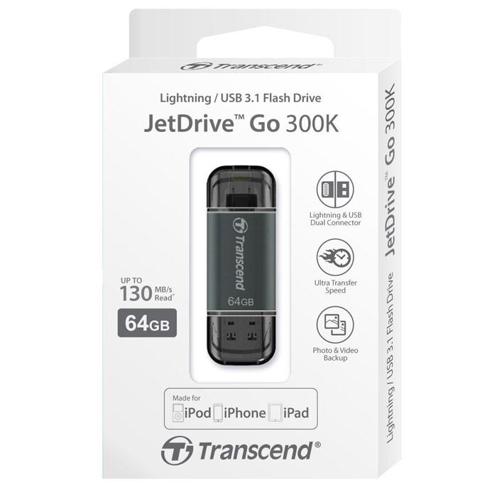 Флеш-диск 64Гб Transcend JetDrive Go 300 для Apple iPhone 5\5S\iPhone 6\6 Plus\iPad с разъемом Lightning MFI черный