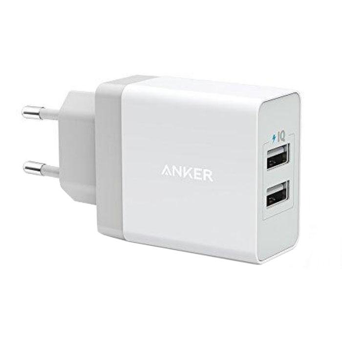 Зарядное устройство сетевое USB Anker 2хUSB 2х2.4A белое A2021321
