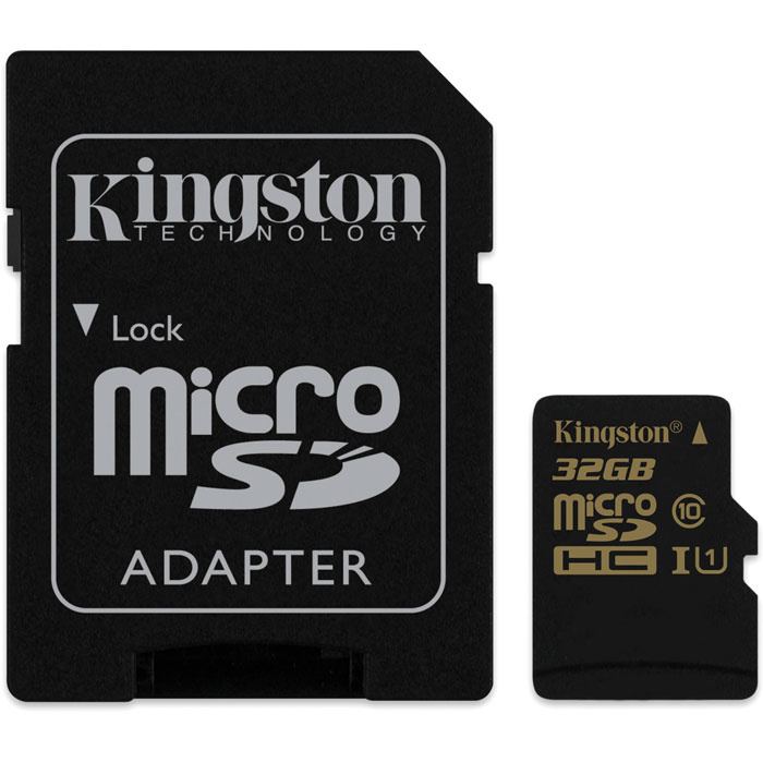 Флеш-карта microSDHC 32Гб Kingston , UHS-1, Class 10 ( SDCA10/32GB ) адаптер SD