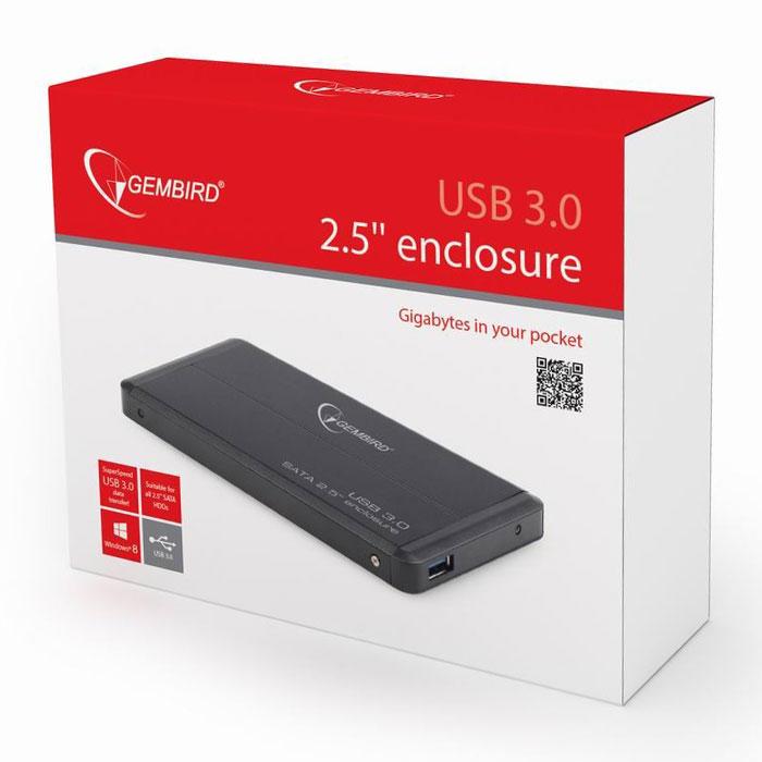 Корпус для HDD 2.5″ SATA-USB3.0 Gembird EE2-U3S-2, черный