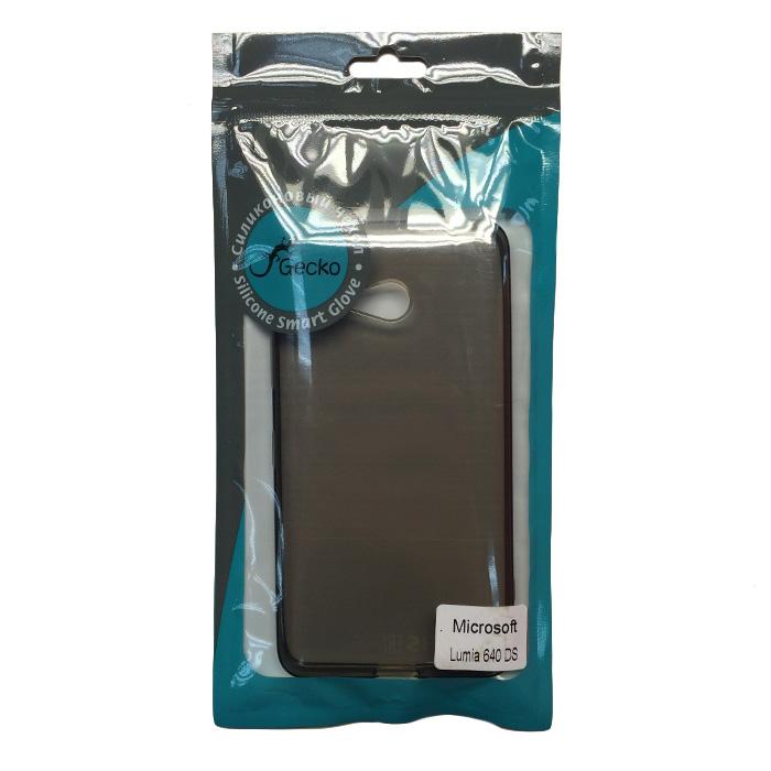 Чехол Gecko Силиконовая накладка для Microsoft Lumia 640 LTE Dual\Lumia 640 Dual, прозрачно-глянцевая, черная