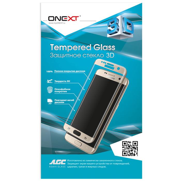 Защитное стекло Onext для Samsung Galaxy A7 (2017) SM-A720F, золотистая рамка