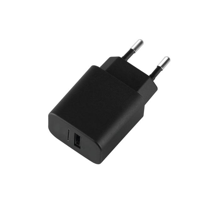 Зарядное устройство сетевое Deppa Ultra 3.4A, USB A + USB Type-C,  Черный (11377)