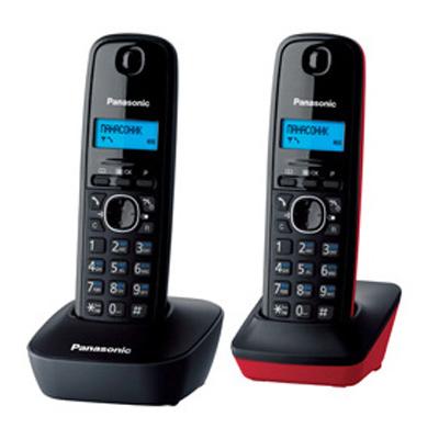 Радиотелефон Dect Panasonic KX-TG1612RU3 черный-красный, 2 трубки, АОН