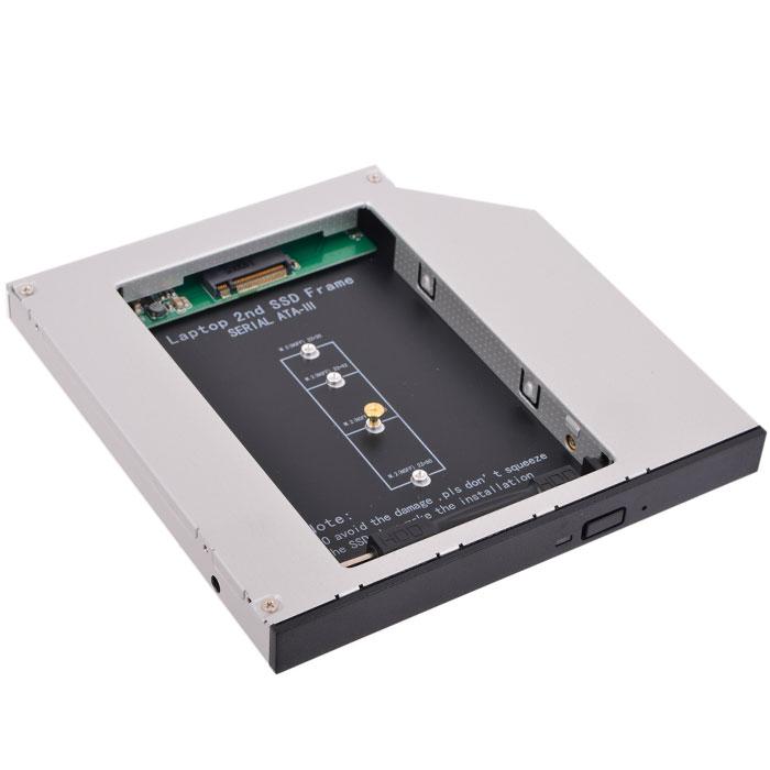 Салазки Espada ( 12M2 ) для замены привода в ноутбуке 12.7мм на NGFF (M.2) SSD (NGFF (M.2) SSD to miniSATA)