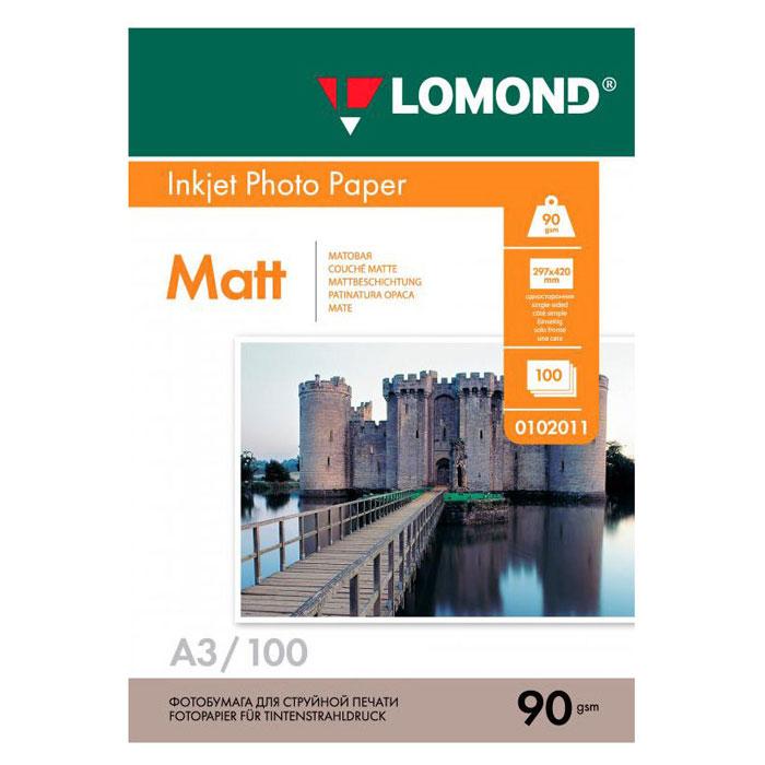 Фотобумага A3 Lomond 90гр, 100л белый матовое для струйной печати ( 0102011 )