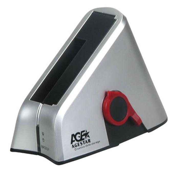 """Док-станция для жестких дисков 2.5"""" или 3.5"""" SATA-USB2.0 AgeStar SUBT Silver"""