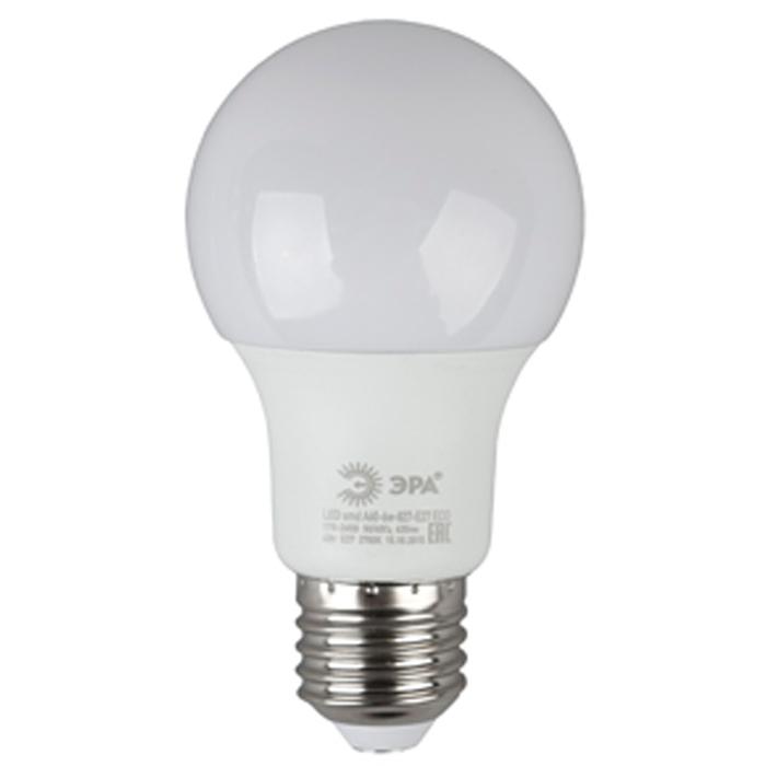 Светодиодная лампа ЭРА A60 E27 6W 220V ECO желтый свет