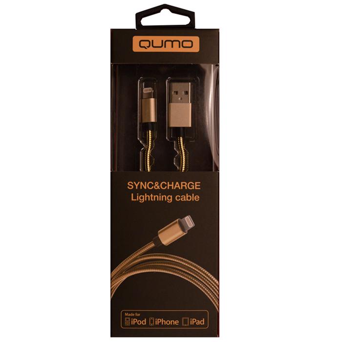 Кабель для iPhone 5 / iPhone 6 /iPad Lightning MFI Qumo 1м, стальная пружина по всему кабелю, металлический коннектор, золотистый