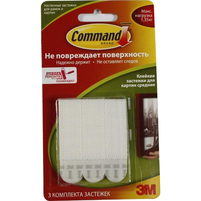 Command 17201 легкоудаляемый настен. застежки д/ рамок картин Сред. до 1,35кг, 3шт