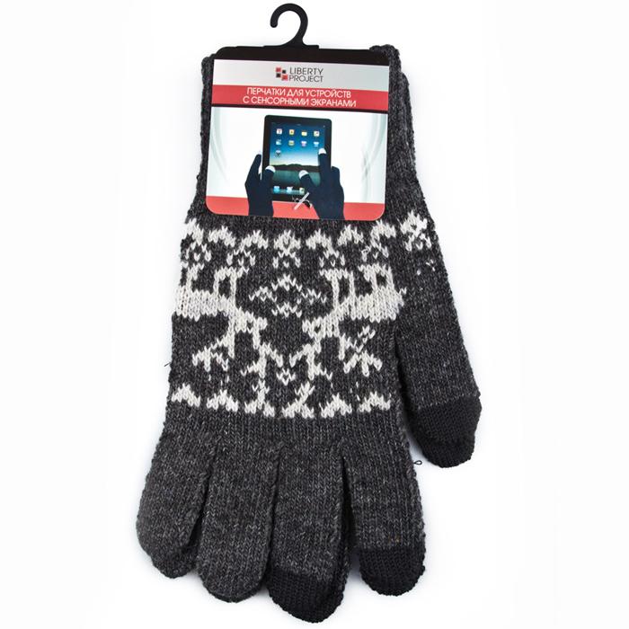 Перчатки для мобильных устройств Liberty Олени, цвет серый, размер L