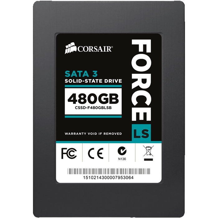 Накопитель 2.5″ SSD SATA3 480Гб Corsair Force LS ( CSSD-F480GBLSB )