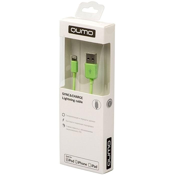 Кабель для iPhone 5 / iPhone 6 /iPad Lightning MFI Qumo 1м, гладкий, зеленый