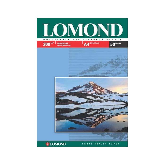 Фотобумага Lomond A4, 200гр, 50л белый глянцевое для струйной печати ( 102020 )