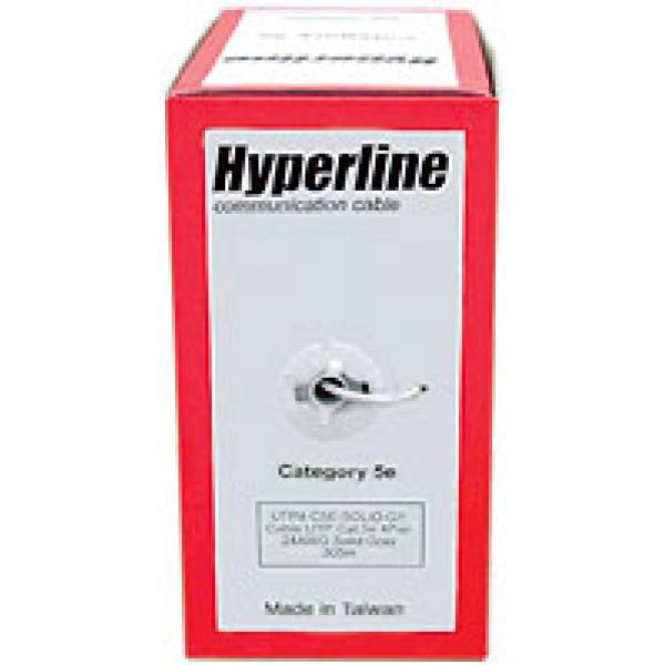 Кабель витая пара Hyperline UTP4-C5E-SOLID-YL-305 UTP кат. 5e 4 пары 24AWG одножильный (305м.) желтый