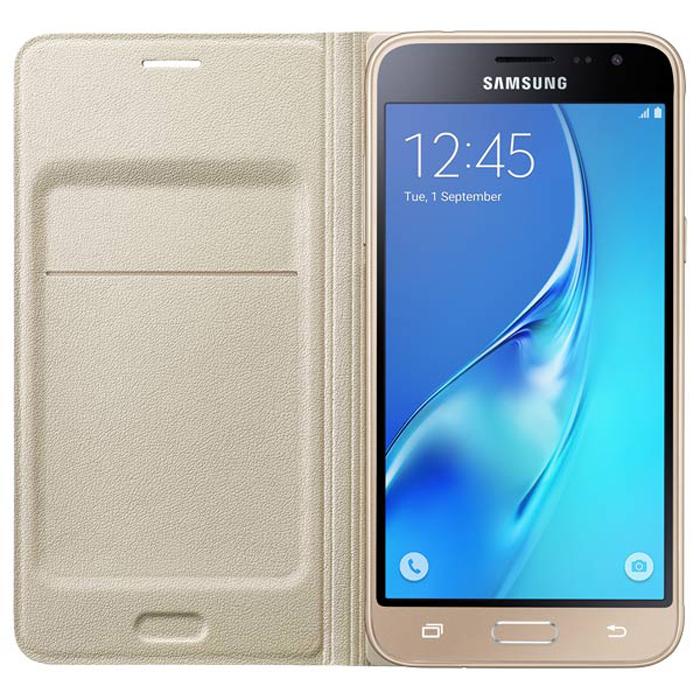 Чехол Samsung Flip Wallet для Galaxy J3 (2016) SM-J320F, золотистый
