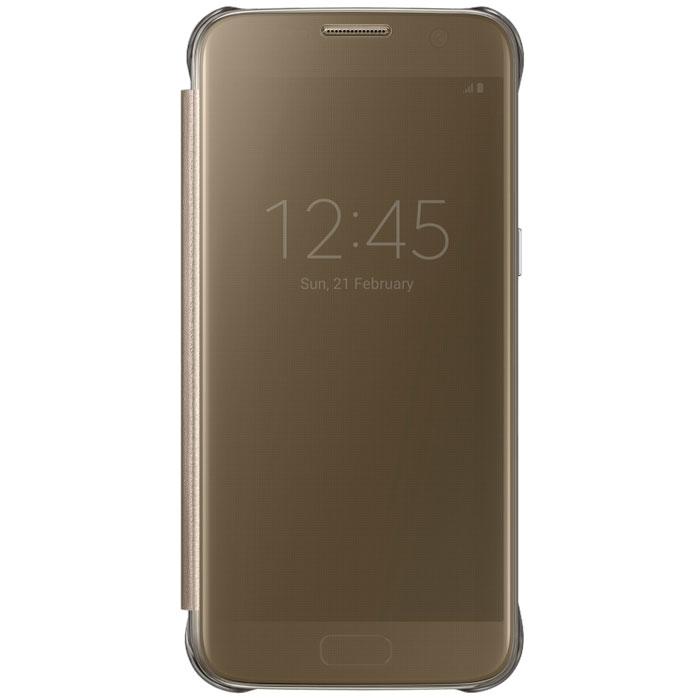 Чехол Samsung Clear View Cover для Samsung G930F Galaxy S7, золотистый