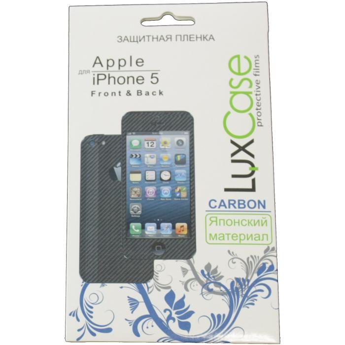 Защитная плёнка для iPhone 5/Phone 5c/iPhone 5s (Front&Back), Luxcase Карбон (черный)