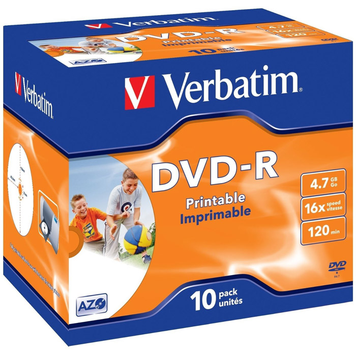 Оптический диск DVD-R Verbatim 4,7Gb 16x Printable JewelCase (43521) 10шт