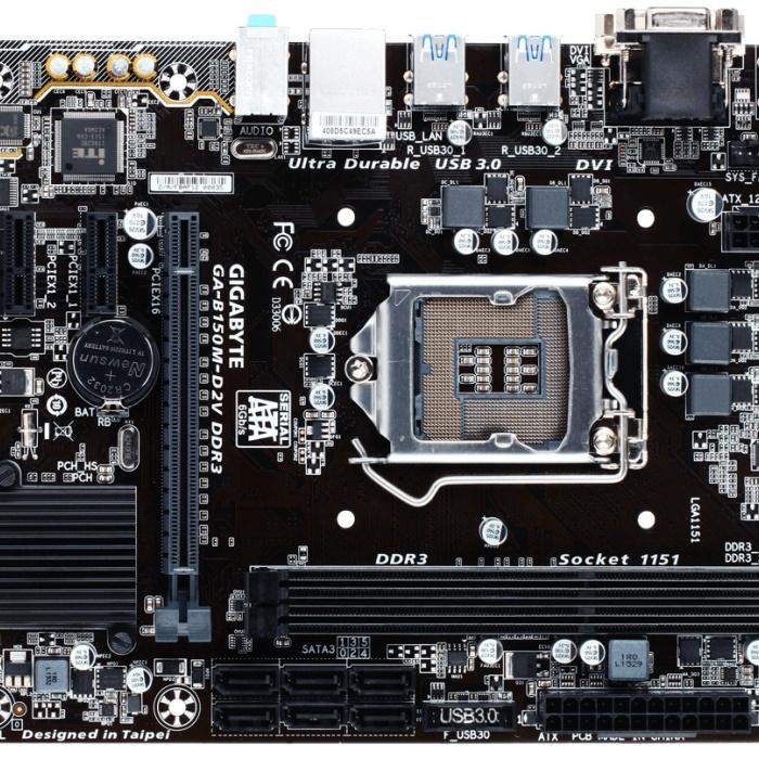Материнская плата Gigabyte B150 LGA1151 DDR4 ( GA-B150M-D2V DDR3 ) mATX, Ret