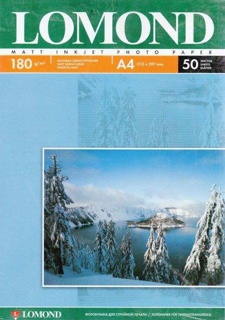 Фотобумага A4 Lomond 180г/м2 25л.,матовая ( 0102037 )