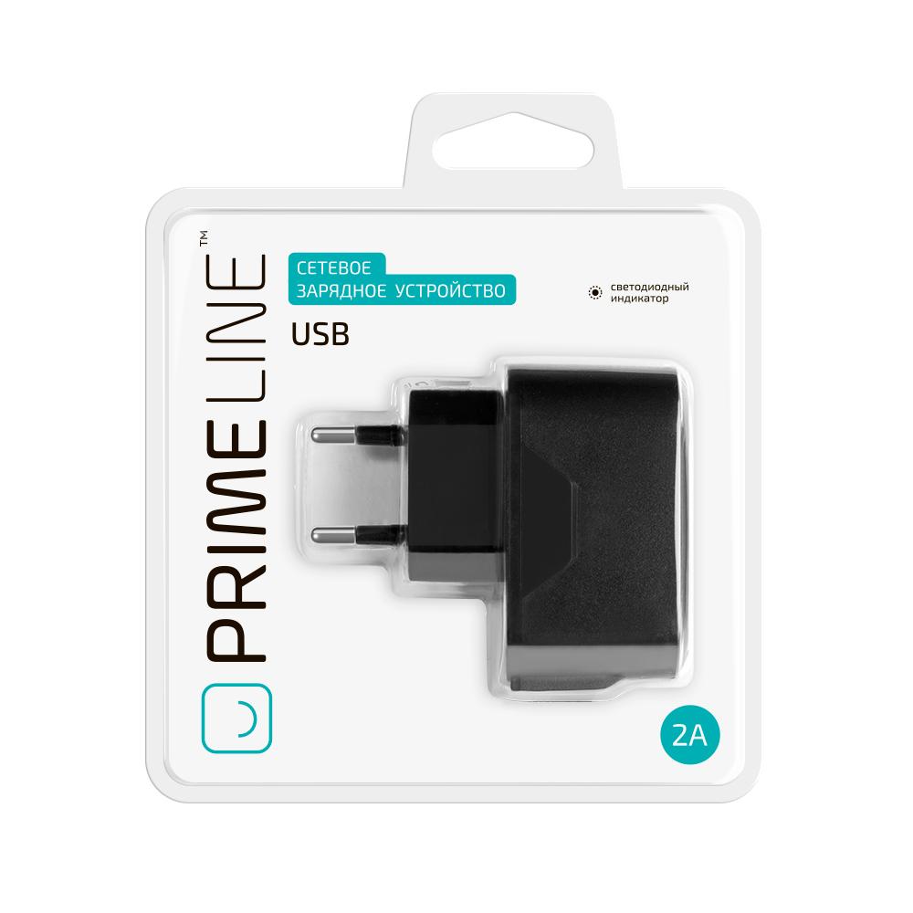 Зарядное устройство сетевое USB Prime Line USB 2.1A черное 2310