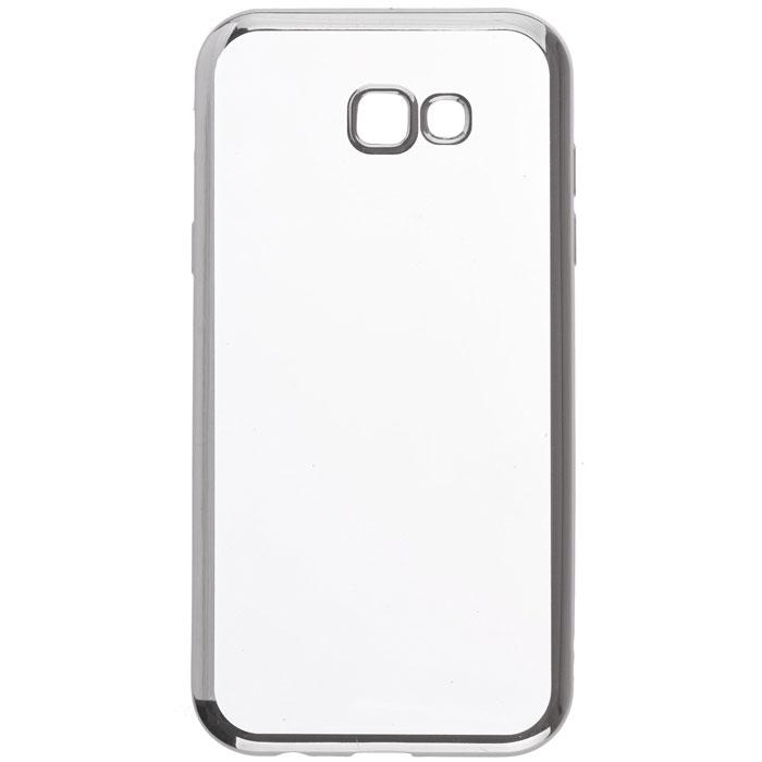 Чехол skinBOX silicone chrome border case для Samsung Galaxy A7 (2017) SM-A720F, темно-серебристый