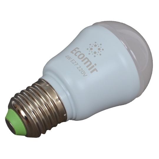 Светодиодная LED лампа ECOMIR E27 4W 220V 42913 желтый свет, матовая