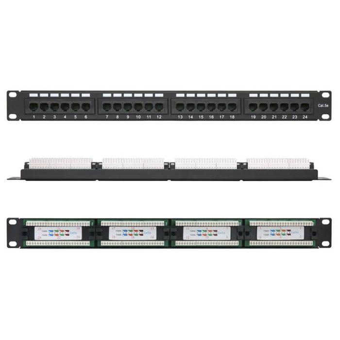 Патч-панель 19″ Netlan EC-URP-24-UD2 UTP 5e кат., 24 порта, 110/KRONE,T568A/B