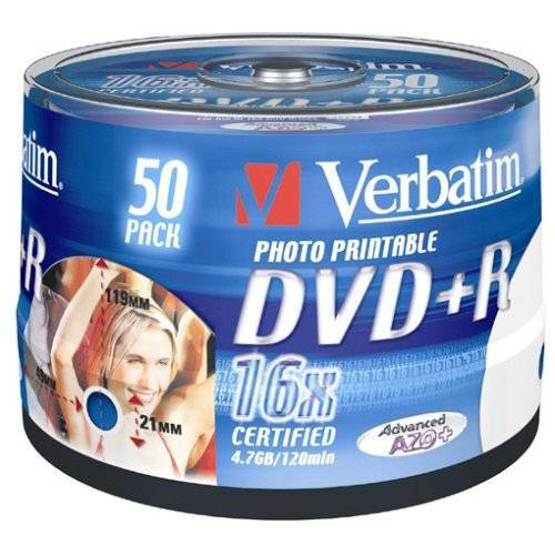 Оптический диск DVD+R Verbatim 4.7ГБ 16x case box, printable ( 43512 ) 50 шт.