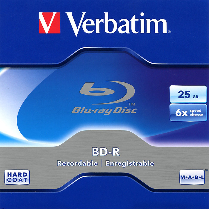 Оптический диск BD-R Verbatim 25Gb 6x Jewel Case Printable (43715) 5шт