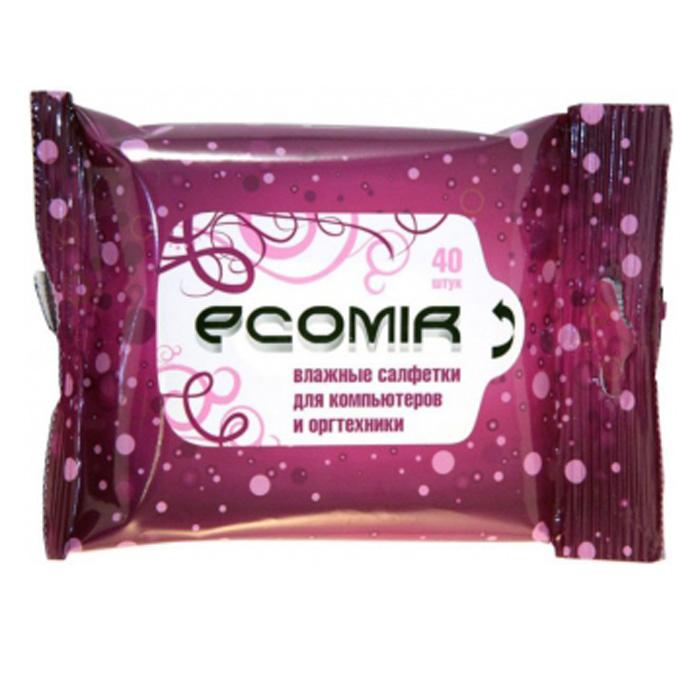 Чистящие салфетки ECOMIR Влажные салфетки в мягкой упаковке для компьютеров и оргтехники (40 шт.) (арт.24227)