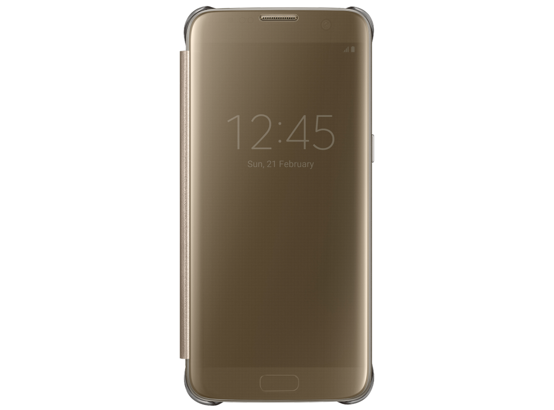Чехол Samsung Clear View Cover для Samsung G935F Galaxy S7 edge, золотистый